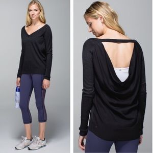 Lululemon -unity pullover heather black drape back
